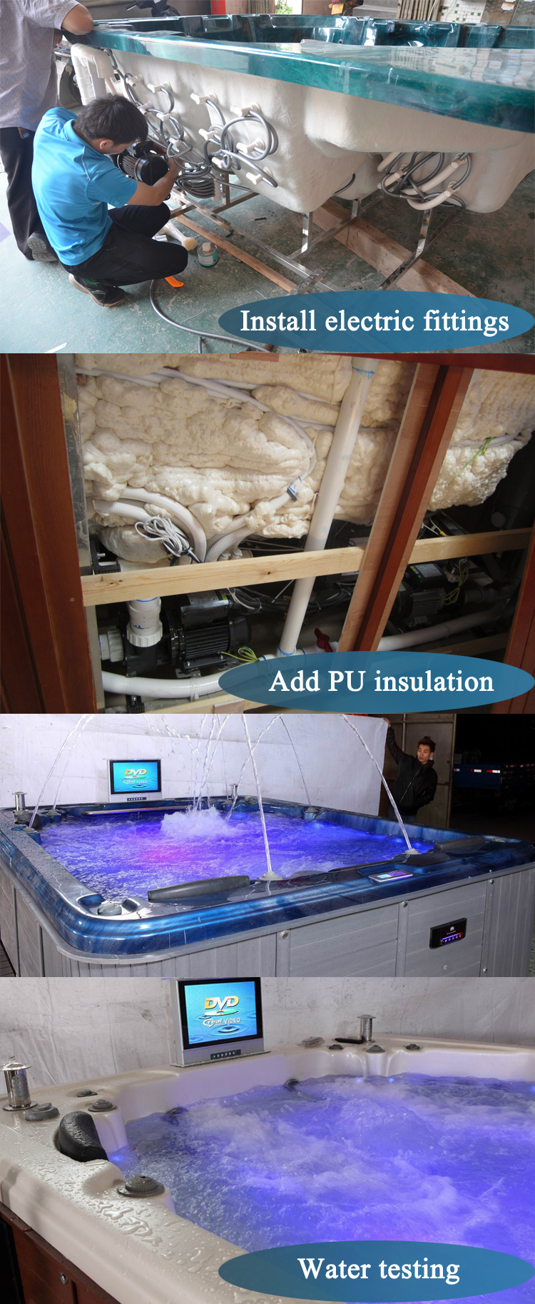 HS-SPA015A luxury rectangle 5 person underground bubble system hot tub