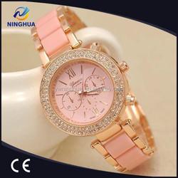 2015 Relogio Feminino Diamond Geneva Watch Women Dress Quartz Women Watches Rhinestone Golden Stainless Watch