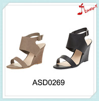 2015 new style high heel wedge sandals low price ladies fancy wedge buckle sandals