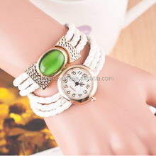 2014 new products fashion black leather wraps bracelet watch, best gift for high school graduation