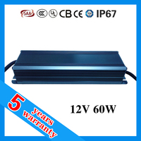 5 year warranty PF 0.98 waterproof IP67 5A 60W 12V LED driver for strip light