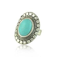 Wholesale fashion jewelry latest fashion oval shaped turquoise rings design