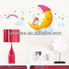 AM005 60*90cm Moon and Stars Lovely Kids Room Decorative Wall Sticker Removable Clear