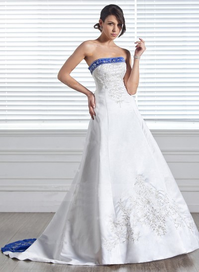 Strapless Embroidered Ball Gown Satin Cheap Royal Blue and White Wedding Dresses