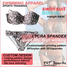 Beautiful women with bra padded beachwear fashion printing customized swimwear Triangle Bikini