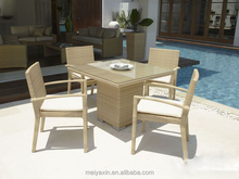 MD-D95 aluminum dining furniture rattan outdoor table