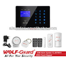 China Factory OEM/ODM Wireless Wolf Guard RFID Alarm System GSM Home Automation with LCD Display and Touch Keypad (YL-007M2FX)
