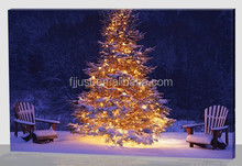 Wholesale christmas tree wall art painting canvas for decor