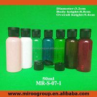 50ml 7 colors PET flip top spray bottle for perfume use, amber plastic round bottle screw flip top cap lids for shampoo