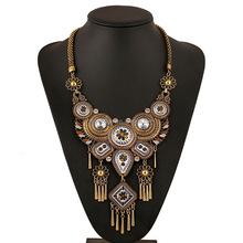 Europe and the United States New Retro Pendant Necklace tassel exaggerated wind Bohemia folk style necklace