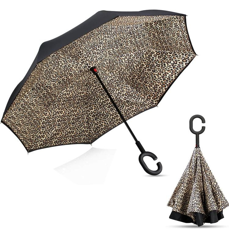 2016 nova invenção guarda-chuva com C alça reversa guarda-chuva guarda-chuva de cabeça para baixo
