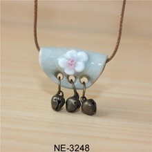 Selling national wind bell clay ornaments handmade ceramic necklace