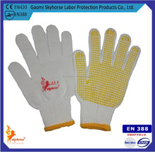 Chinese supplier pvc dotted cotton gloves yellow