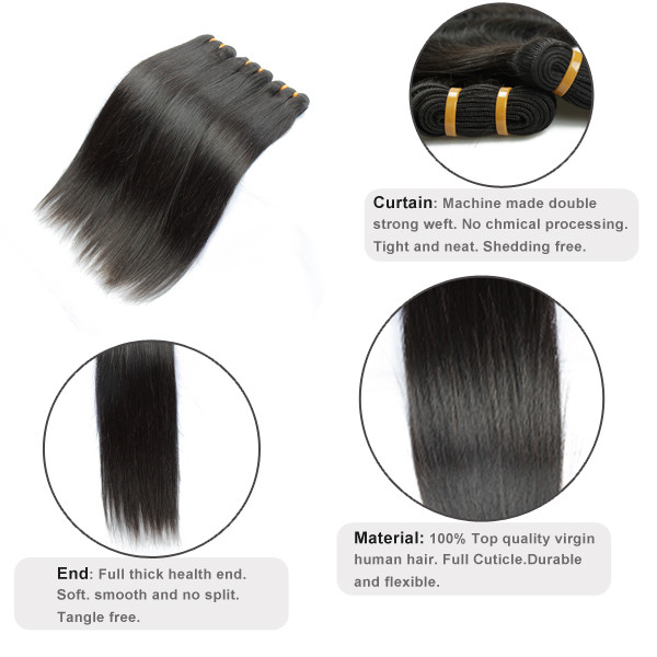 Droit soyeux Vierge Brésilienne Extension de Cheveux, Échantillon gratuit Cheveux Bundles