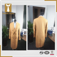 2015 New arriving Fashion design 100% cashmere double breasted six button 2 pockets camel cashmere mens long coat
