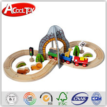 innovative figure 8 train set with tunnel, forest animals, wooden track toy