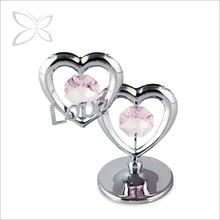 Romantic Twin Hearts Crystal Gifts For Wedding