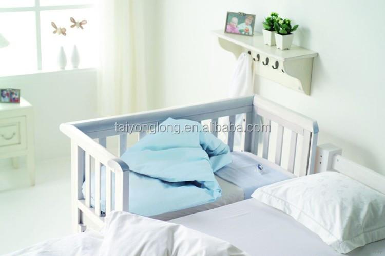 Adjustable New Zealand Pine Wood Baby Cot Wheels Baby Crib Cot Baby ...