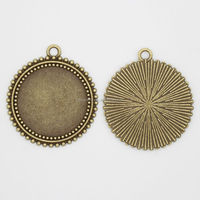 RS-1016T Round shaped Pendant Setting, 25mm Ancient bronze blank journey pendant settings