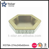 gift tin box with PVC window on the lid /empty tin cans/tin can manufacturer