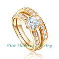fábrica directa elegante zirconia cúbico anillo de oro