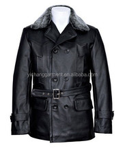 ZUM Pea Coat Black Faux Fur Reefer Classic Hide Leather Jacket