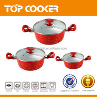 Bright Red non stick cooking pots set with ceramic coating