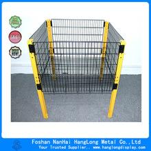Folding Steel Storage Basket Industrial Metal Cage Mesh