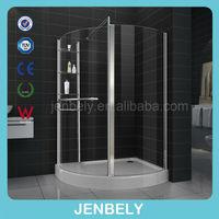 8mm big space walk-in shower glass door fixing for aluminum profile