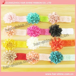 Wholesale Chiffon Bows Baby Headbands Bows Elastic Infant Kids Hair Bands Headwear