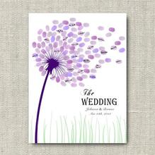 Romantic Creative fingerprint design Unique Dandelion Canvas wedding guest book decorations