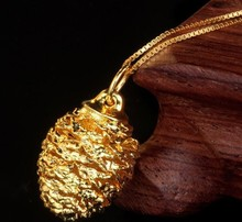 24K gold plated sterling silver plant Pinecone shaped girls party cute fashion pendant