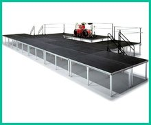 Aluminum outdoor stage design, includes platform, adjustable legs, stairs, guard rails