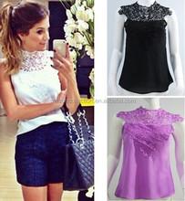 2015 Summer Women Casual Chiffon Lace Blouses Shirts Fashion Hollow Out Sleeveless Tops Renda Tank Camisas Blusas Femininas