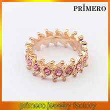 PRIMERO European and American retro punk ring New Hot Selling Unisex Gold Plated Pearl Rhinestone crystal Eye Ring