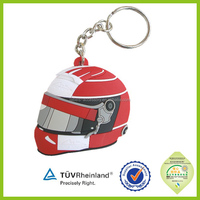 Factory cheap cool silicone pvc motorcycle helmet keychains for boys