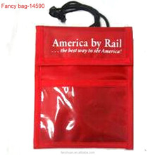 Red Nylon Hanging Personalized Passport Bag