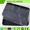 6 Compartments black color disposable plastic lunch food tray
