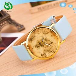 hot sale south Korea style world map quartz watch,vintage leather alloy watch