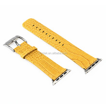 For Apple Watch Wholesale Crocodile Texture Yellow Genuine 100% Leather Strap
