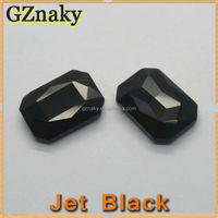10x14mm Rectangle JET BLACK shining glass stone for bling t shirts wholesale