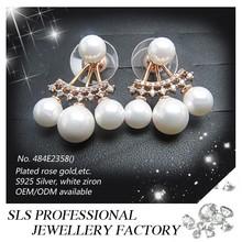 925 sterling silver main material three big beads Fan earrings for women as wedding earrings