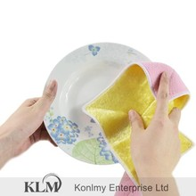 KLM-145 22*26cm double side microfiber cleaning towel pink and yellow color dish wash cloth for kitchen