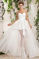 2014 Hot Sale Elegant Whit Ivory front short and long back wedding dress