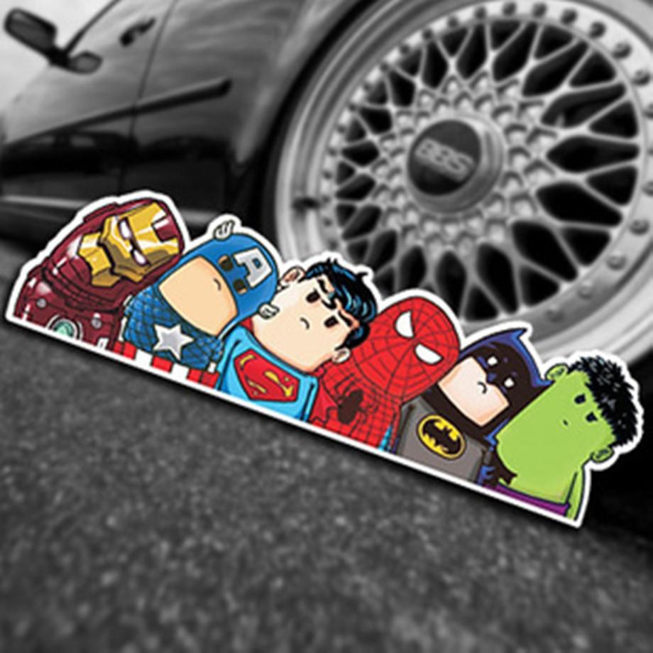 American hero cool car styling doodle hellaflush funny cartoon reflective car stickers car decoration