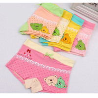 10pcs health and lovely mix color fiber cotton and spandex beautiful bow bear printed boxer underwear