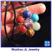 Natural Seven Star Group Crystal fancy stones petals chakras Pendant Healing