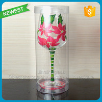 Hot sale wine glass cup paint logo wine glass wholesale glass goblet