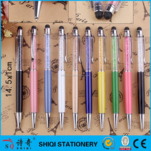 gift heavy metal colorful diamond pens, touch ball point pen