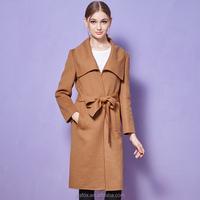 Hot selling latest design coat winter fashion cashmere mink fur coat ,high quality long trench wool coat women 2015